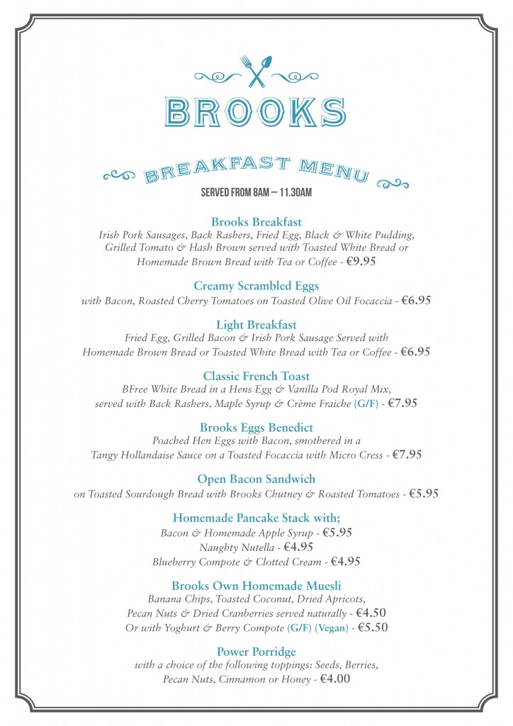 Brooks Breakfast Menu