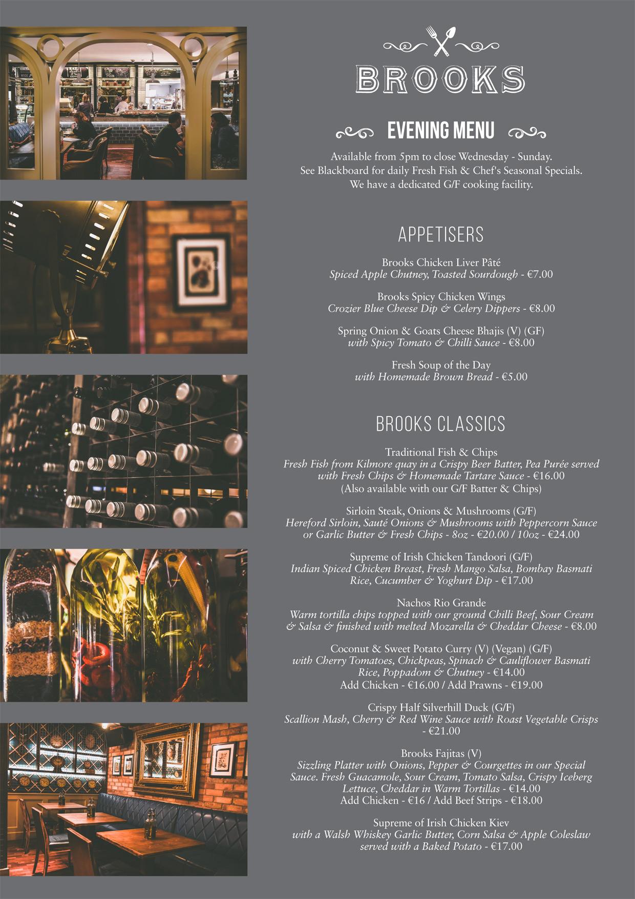 Brooks Evening Menu - Page 1